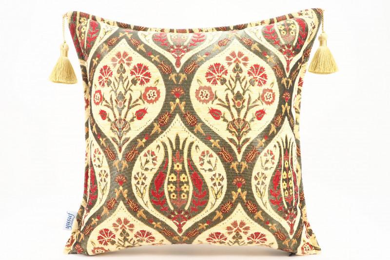 Turkish Fabric Pillow 18x18, Beige Tulip Pattern Decorative Ottoman Fabric Pillow