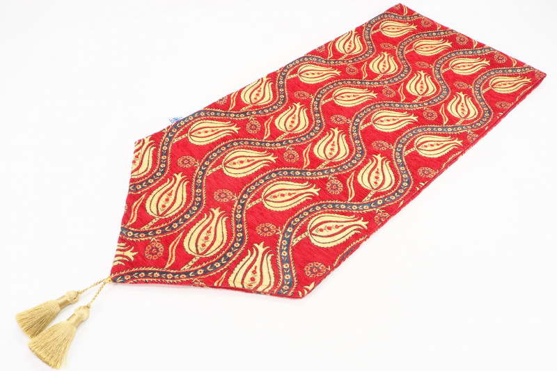 Turkish Table Runner, Red Tulip Pattern Fabric Table Runner