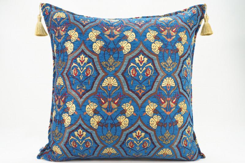 Turkish Fabric Pillow 24x24, Navy Blue Carnation Pattern Decorative Ottoman Pillow