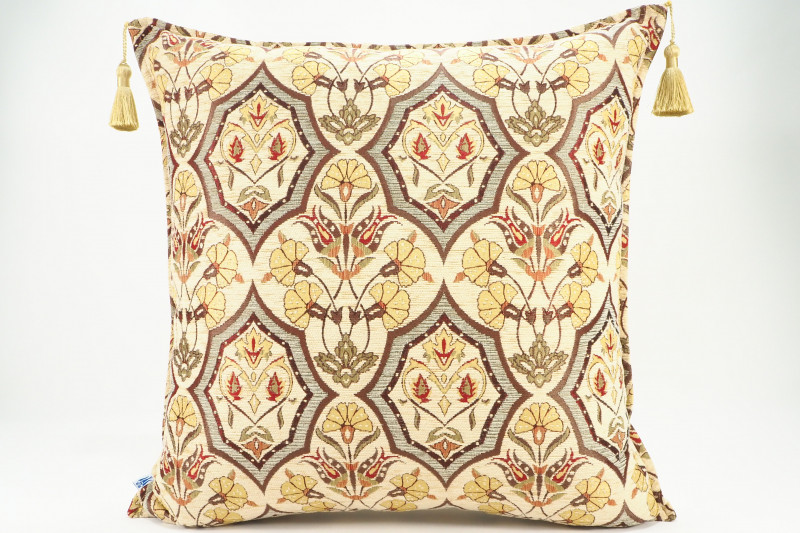 Turkish Fabric Pillow 24x24, Beige Carnation Pattern Decorative Ottoman Pillow