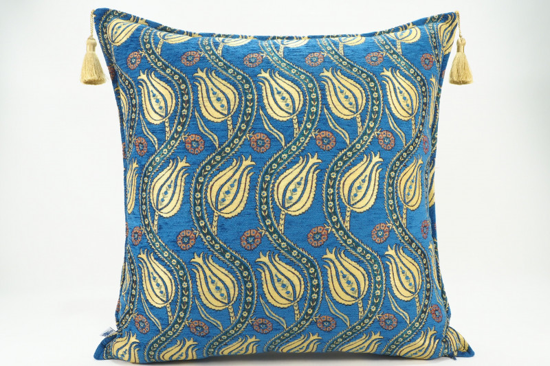 Turkish Fabric Pillow 24x24, Navy Blue Tulip Pattern Decorative Ottoman Pillow