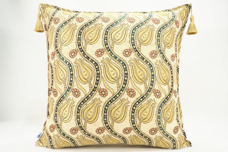 Turkish Fabric Pillow 24x24, Beige Tulip Pattern Decorative Ottoman Pillow