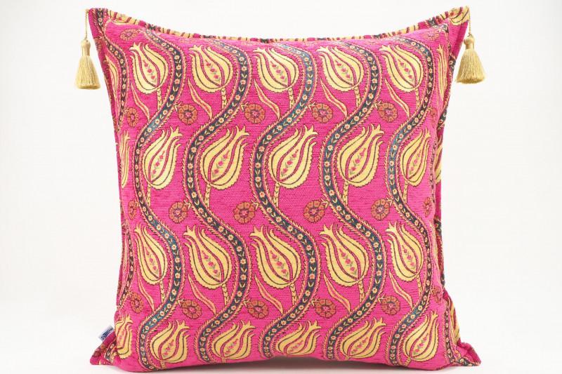 Turkish Fabric Pillow 24x24, Pink Tulip Pattern Decorative Ottoman Pillow