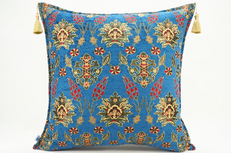 Turkish Fabric Pillow 24x24, Navy Blue Tulip Pattern Decorative Ottoman Pillow