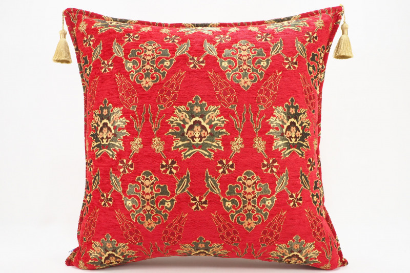 Turkish Fabric Pillow 24x24, Red Tulip Pattern Decorative Ottoman Pillow
