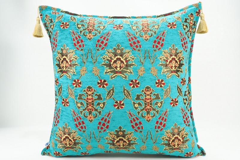 Turkish Fabric Pillow 24x24, Turquoise Blue Tulip Pattern Decorative Ottoman Pillow