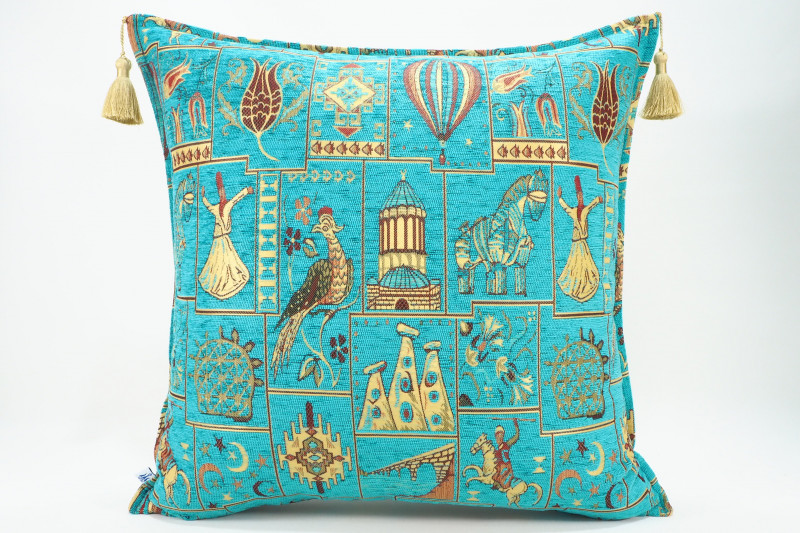 Turkish Fabric Pillow 24x24, Turquoise Blue Dream Pattern Decorative Ottoman Pillow