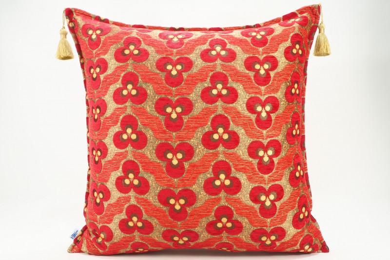 Turkish Fabric Pillow 24x24, Red Tiger Eye Pattern Decorative Ottoman Pillow