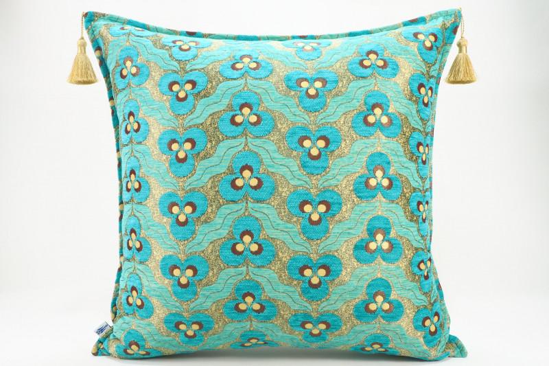Turkish Fabric Pillow 24x24, Turquoise Blue Tiger Eye Pattern Decorative Ottoman Pillow