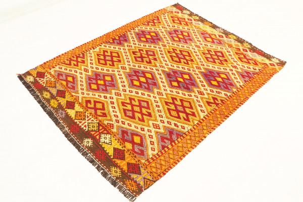 Turkish Kilim Rug, 3'78x2'98 ,Turkish Hand-woven Wool Kilim Area Rug