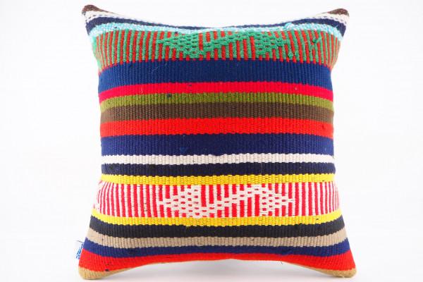 Turkish Kilim Pillow 16x16, ID 453, Kilim From Adiyaman