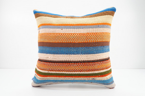 Turkish Kilim Pillow 16x16, ID 532, Kilim From Adiyaman