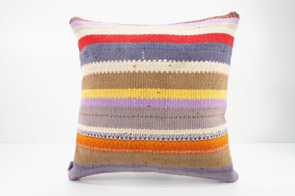 Turkish Kilim Pillow 16x16, ID 533, Kilim From Adiyaman