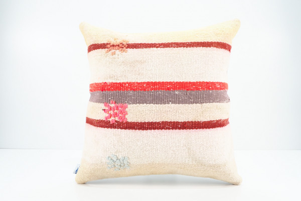 Turkish Kilim Pillow 16x16, ID 535, Kilim From Adiyaman