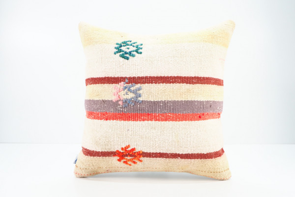 Turkish Kilim Pillow 16x16, ID 537, Kilim From Adiyaman