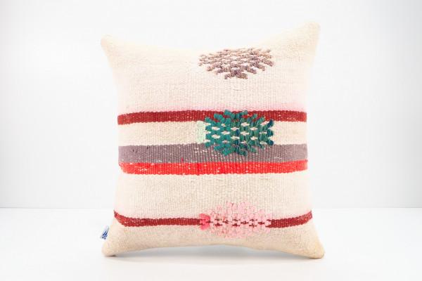 Turkish Kilim Pillow 16x16, ID 540, Kilim From Adiyaman