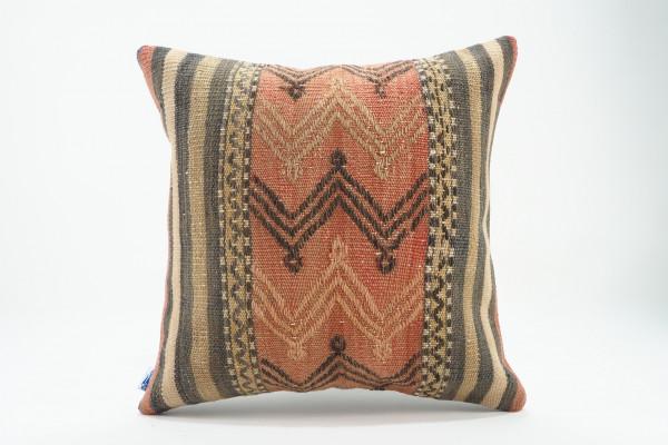 Turkish Kilim Pillow 16x16, ID 548, Kilim From Malatya