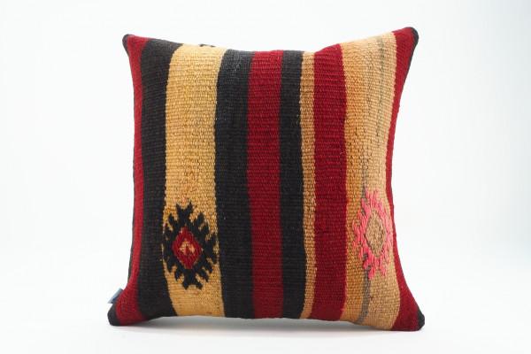 Turkish Kilim Pillow 16x16, ID 549, Kilim From Malatya