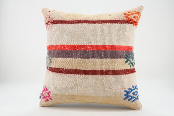 Turkish Kilim Pillow 16x16, ID 553, Kilim From Malatya