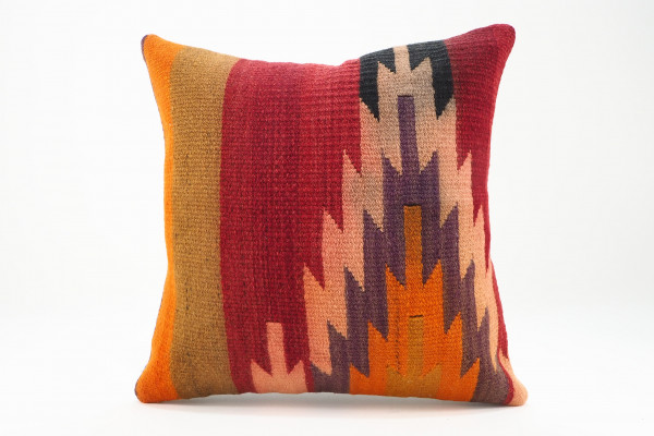Turkish Kilim Pillow 16x16, ID 559, Kilim From Adiyaman