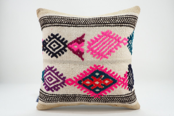 Turkish Kilim Pillow 16x16, ID 561, Kilim From Malatya