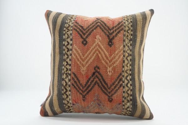 Turkish Kilim Pillow 16x16, ID 562, Kilim From Malatya