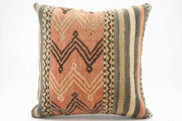 Turkish Kilim Pillow 16x16, ID 566, Kilim From Malatya