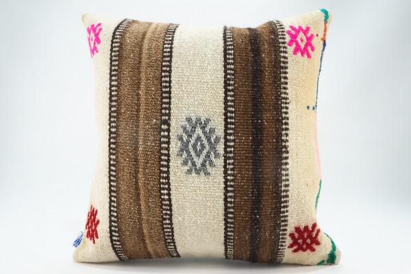 Turkish Kilim Pillow 16x16, ID 575, Kilim From Malatya