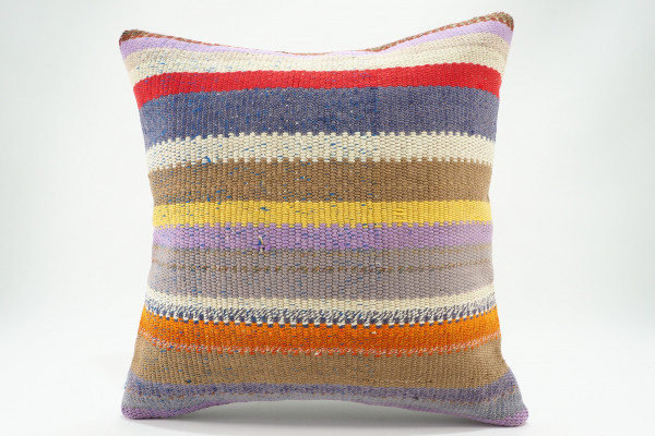 Turkish Kilim Pillow 16x16, ID 576, Kilim From Malatya