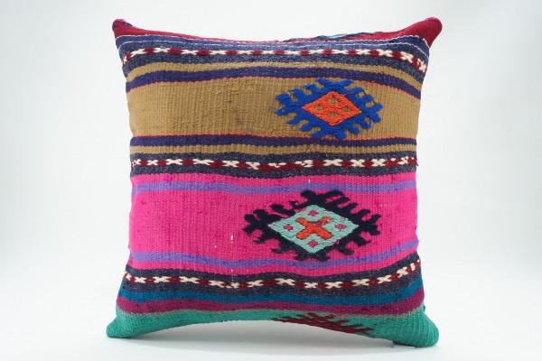 Turkish Kilim Pillow 16x16, ID 577, Kilim From Malatya