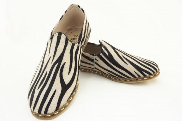 Turkish Yemeni Zebra Pattern Handmade and Hand Stitched Shoes