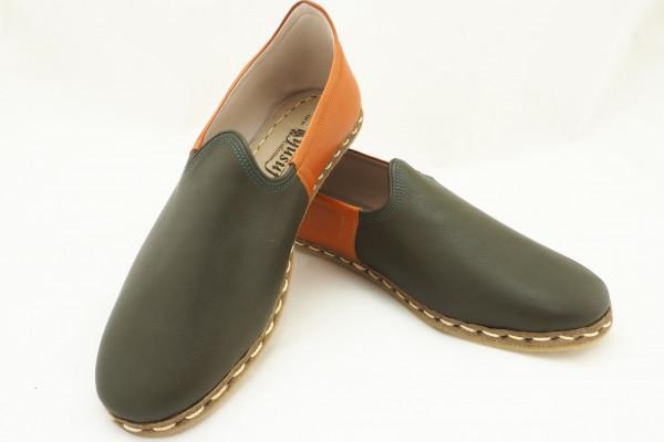 Turkish Yemeni Green and Brown Handmade and Hand Stitched Shoes