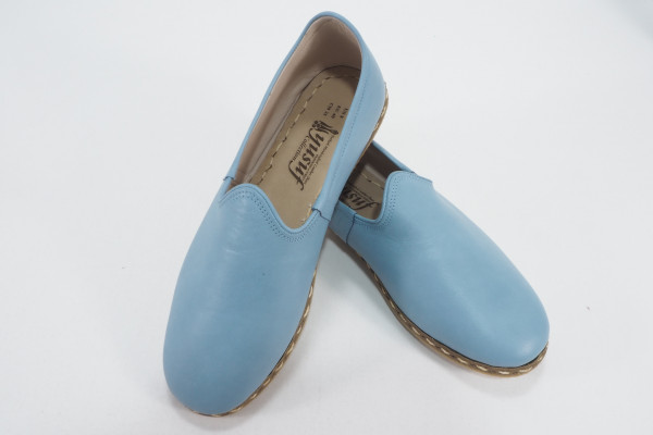 Turkish Yemeni Ice Blue Handmade and Hand Stitched Shoes